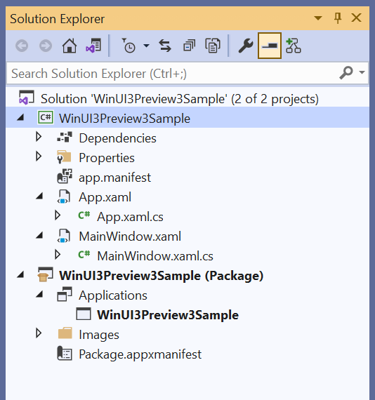 Visual Studio Solution Explorer.