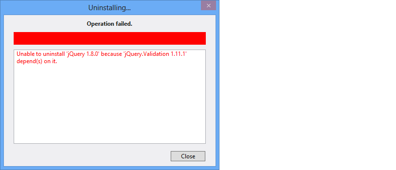 Failure on uninstall of a parent package