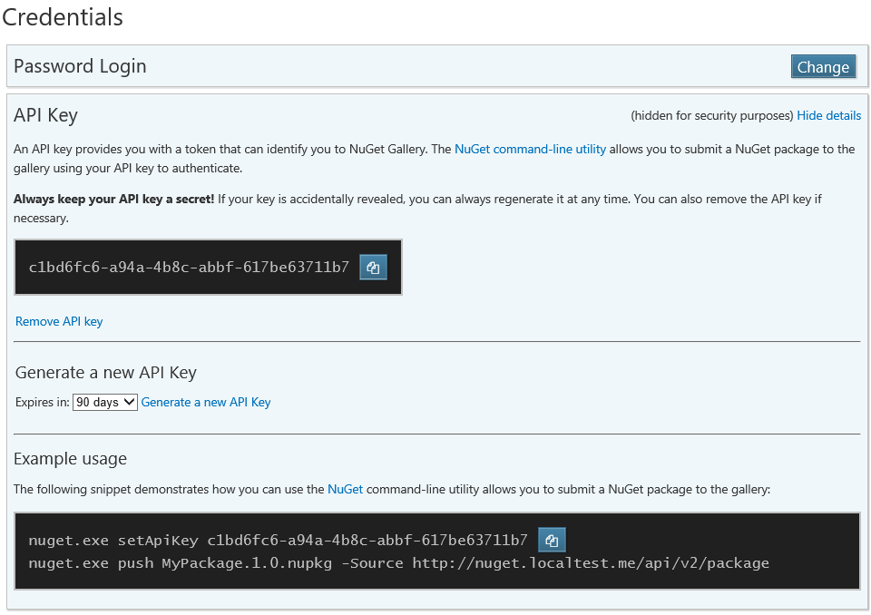 NuGet account page - credentials section