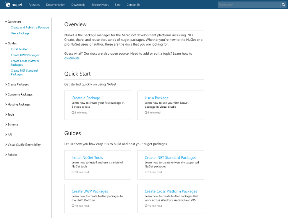 new nuget docs landing page