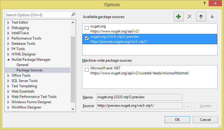 Enable the Preview Package Source