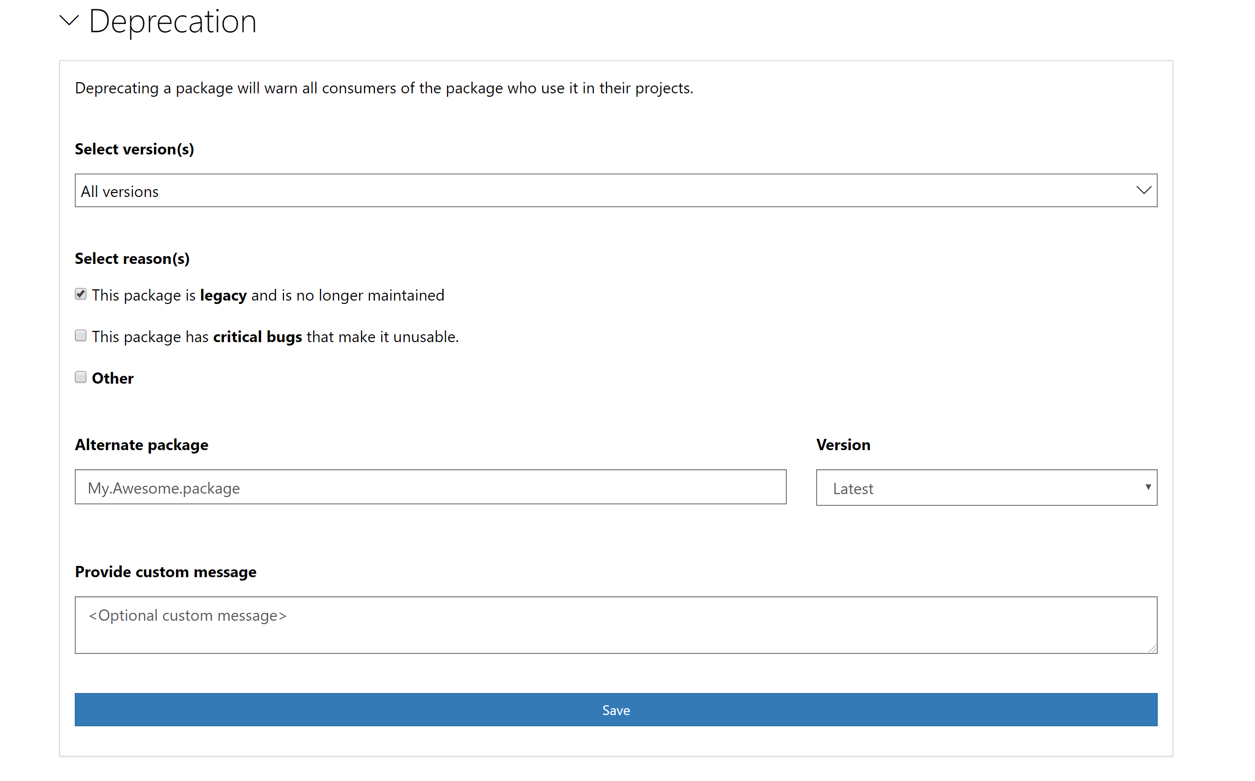 manage package option
