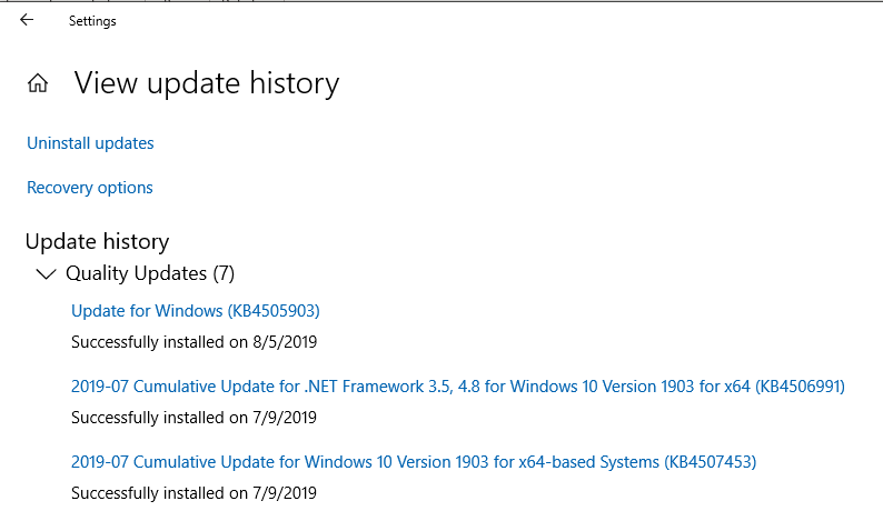 Windows 10 Servicing Release KB4505903 required for instrumented CPU