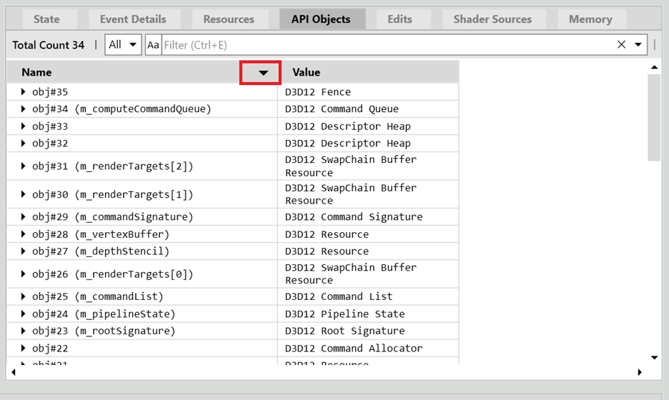 Screenshot of the PIX API Objects table with a red box indicating the sorting arrow