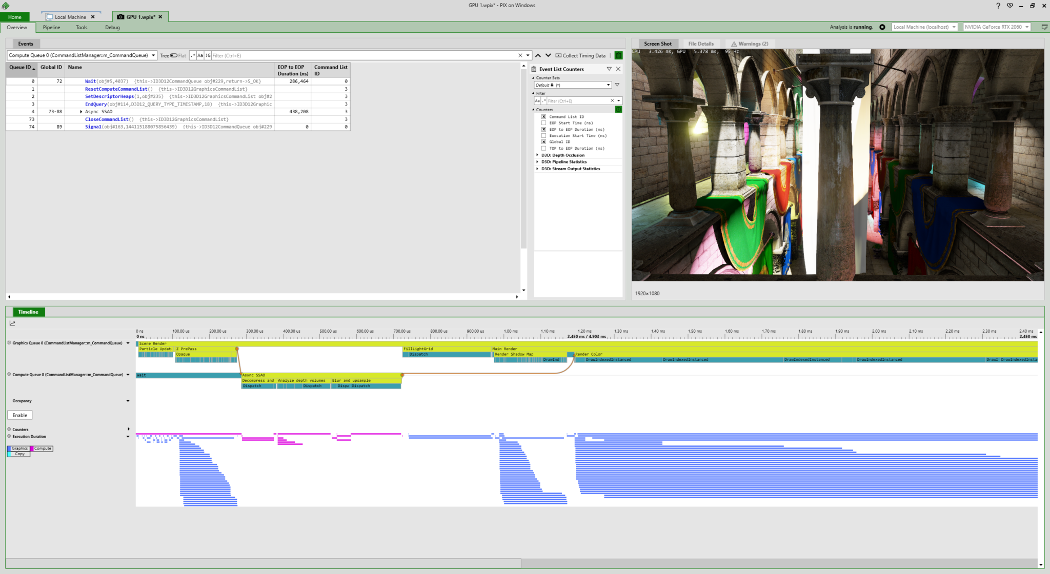 Screenshot showing PIX Overview window with correlation arrows in the Timeline lane.