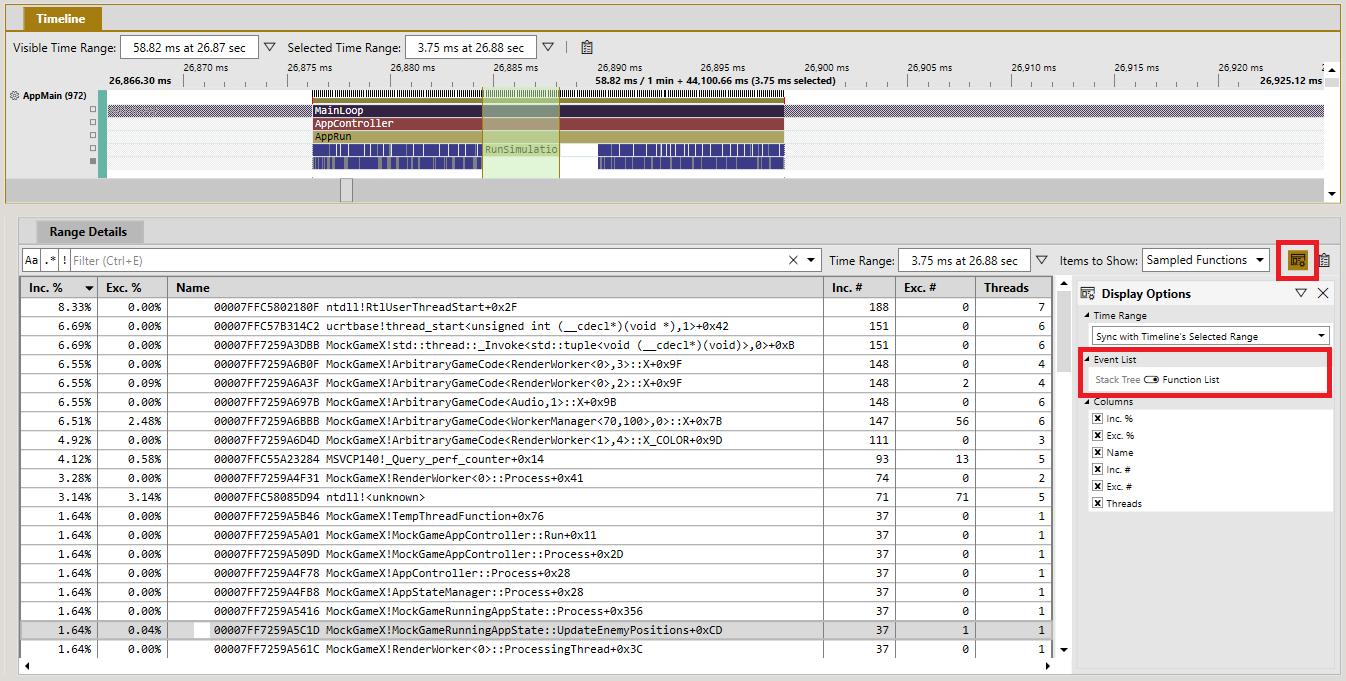 Image pix sampling profiler aggregated range details flat list
