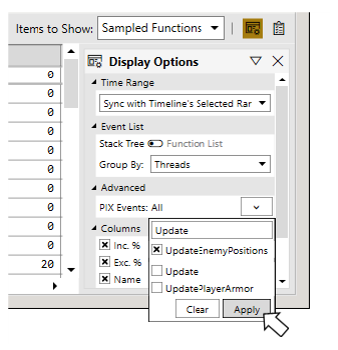Image pix events filtered