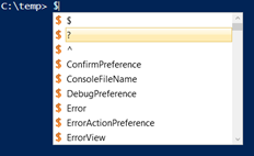 intellisense showing predefined and user-defined variables