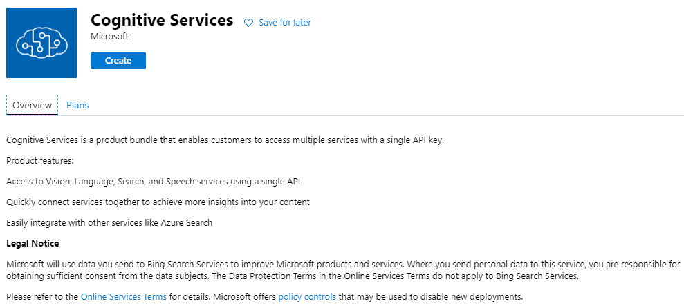 Image of how to create Azure Cognitive Services