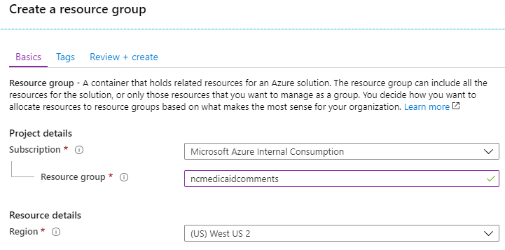 Image of screen to create a resource group in Azure