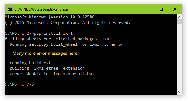 Console window showing the 'Unable to find vcvarsall.bat' error.