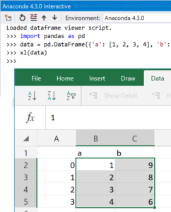 "A Python function ""xl"" being used to send a pandas DataFrame into Excel"