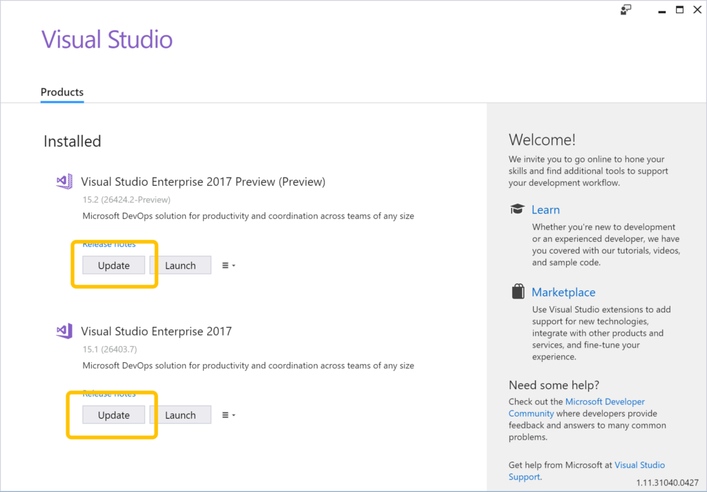 Visual Studio installer showing the Update button for both releases