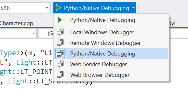 Selecting Python/Native Debugging from the dropdown in Visual Studio 2017