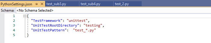 json settings file for tests