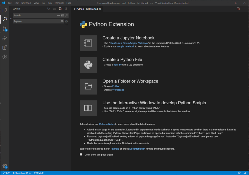 Start Page of the Python extension
