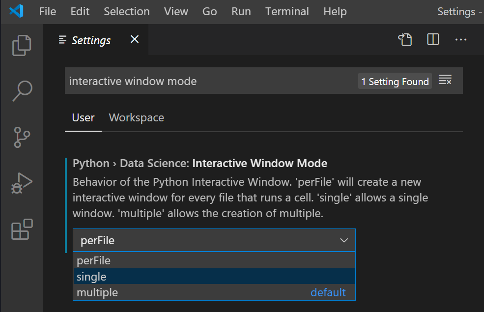 Interactive Window Monde settings options (perFile, single and multiple).