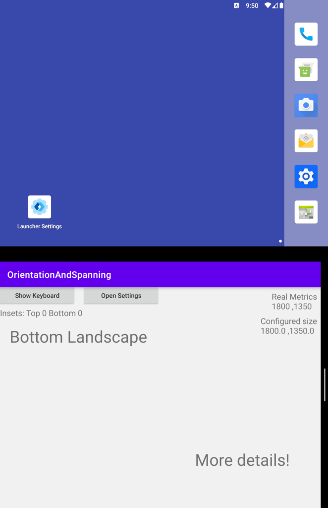 Application in landscape mode on the bottom screen