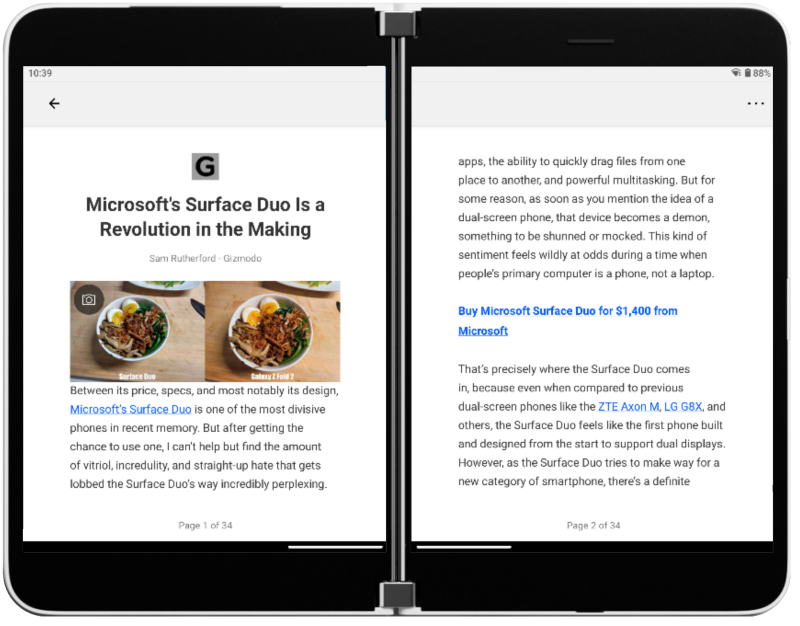 Enhancing Microsoft News for dual-screens