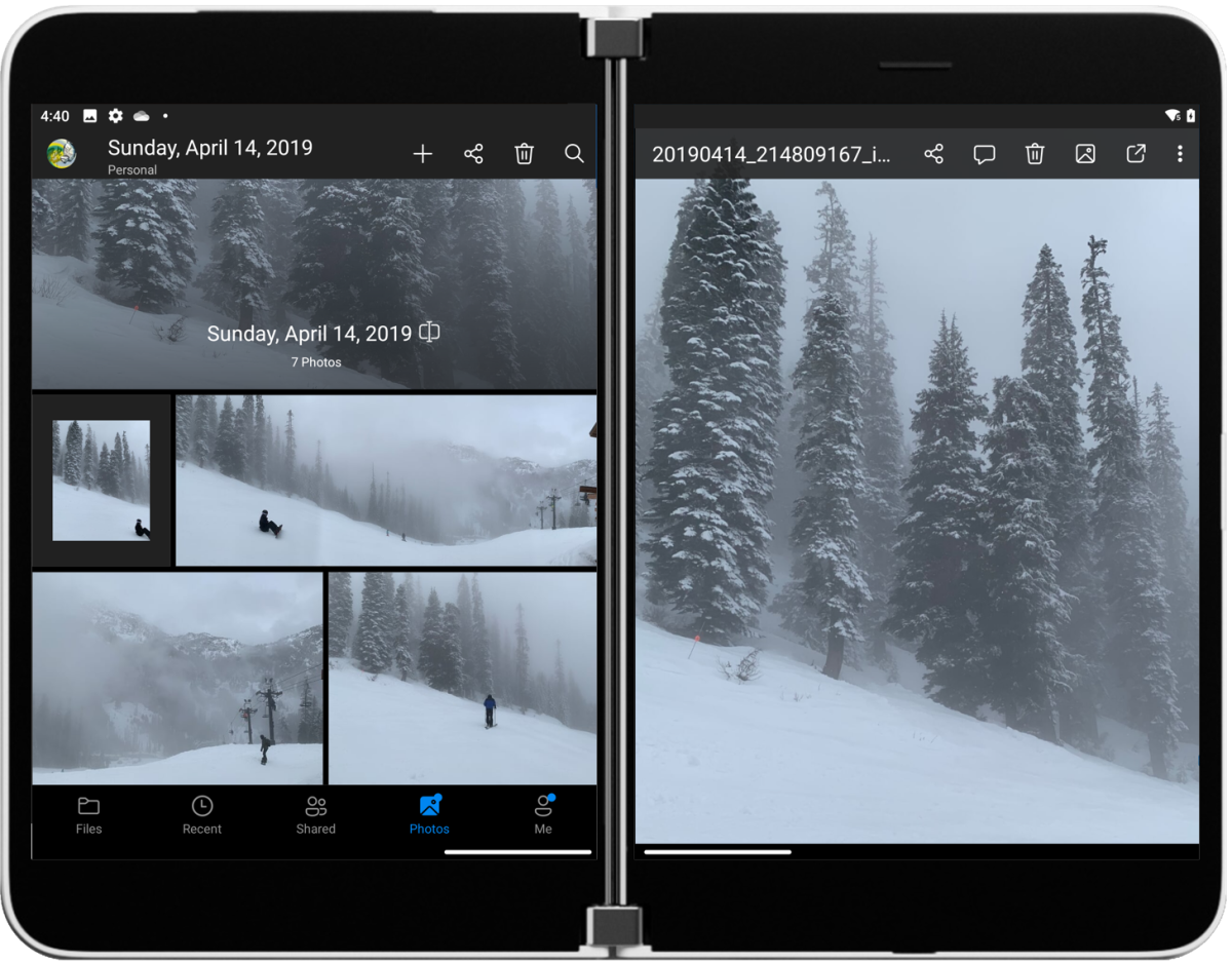 OneDrive with photo collection (snow scenes)