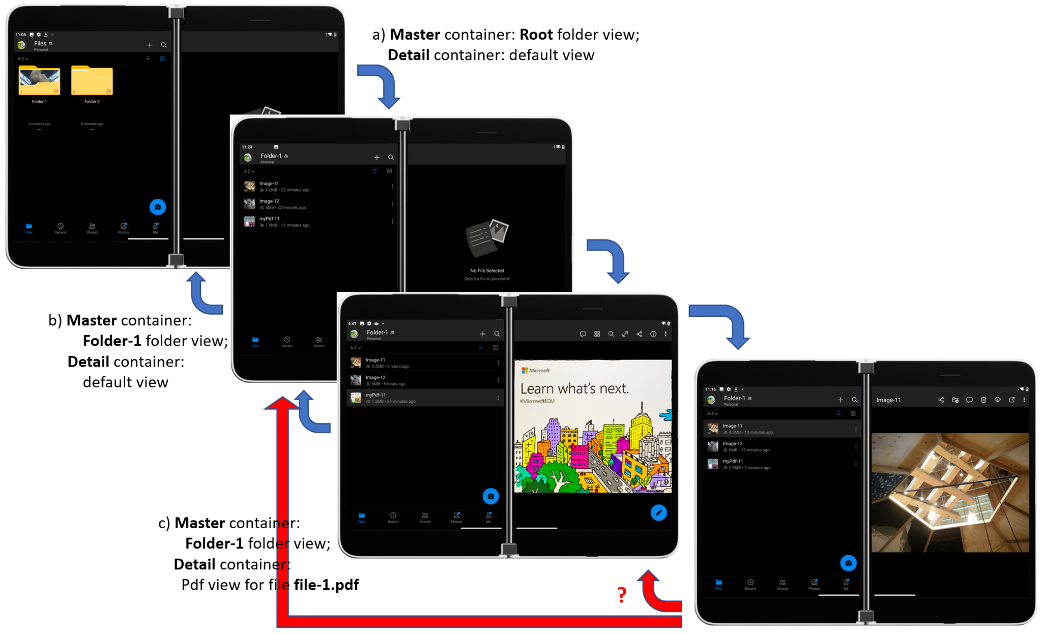 Four Surface Duo devices showing OneDrive navigation sequence