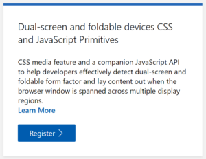 Dual-screen web page on Surface Duo