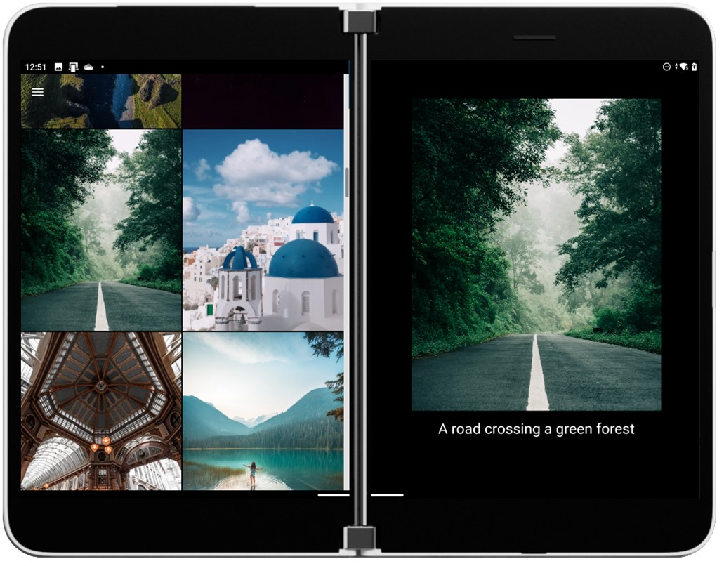 Cordova photo gallery example on Surface Duo