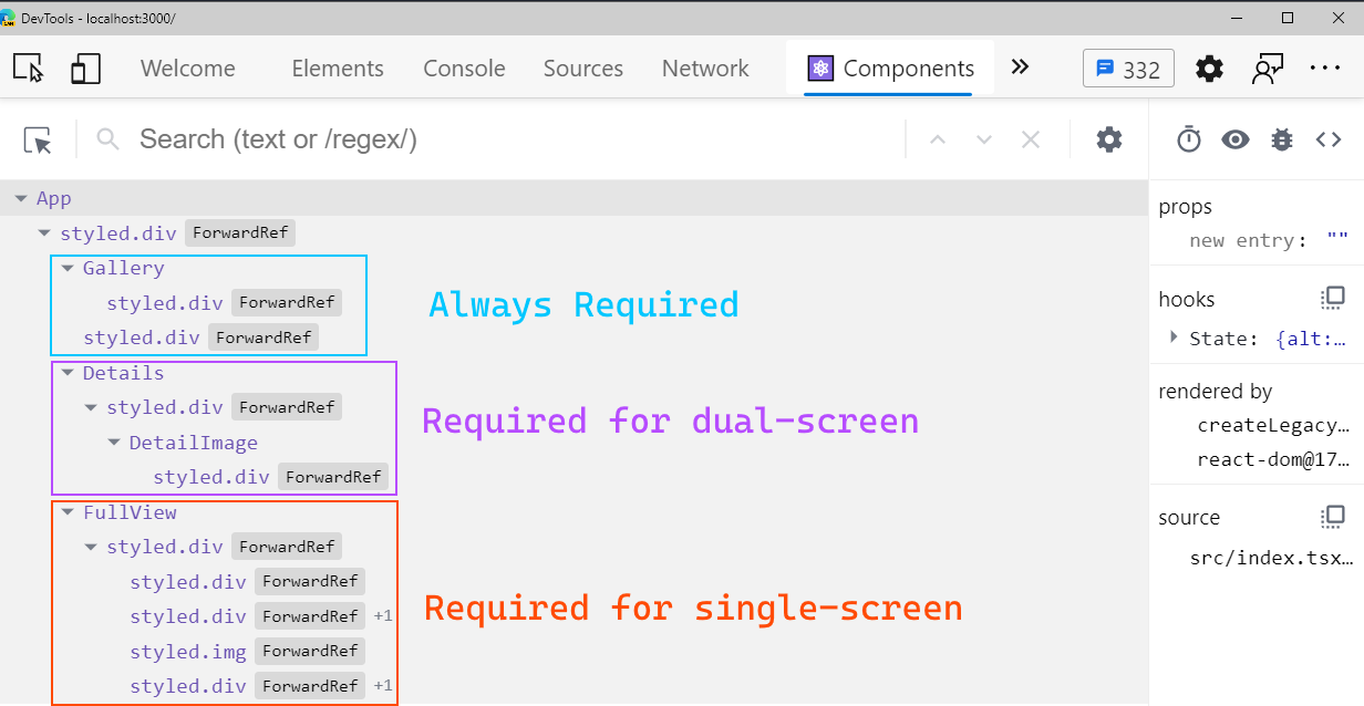 Developer tools window showing page structure