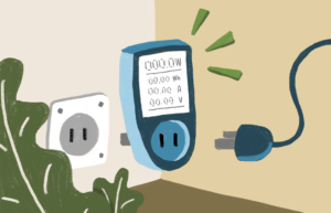 A drawing of a watt meter being plugged into a wall, there are also some leaves in the drawinf