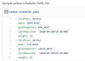 Sample scheduler YAML file for carbon-aware Kubernetes