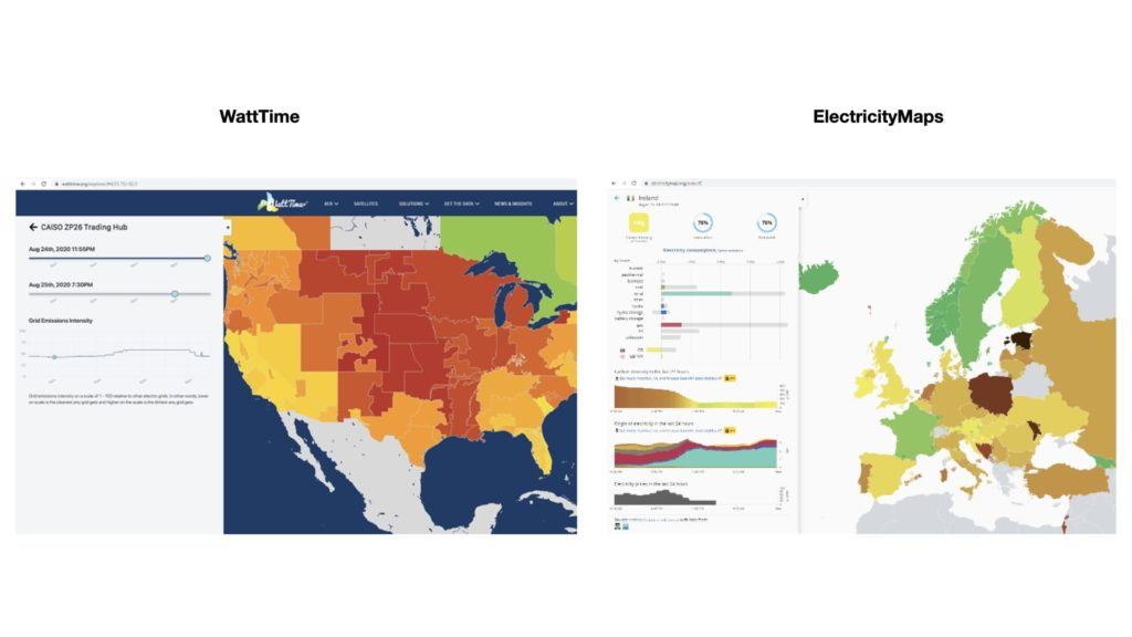 Real-time electricity grid emissions data from WattTime.org and ElectricityMap.org