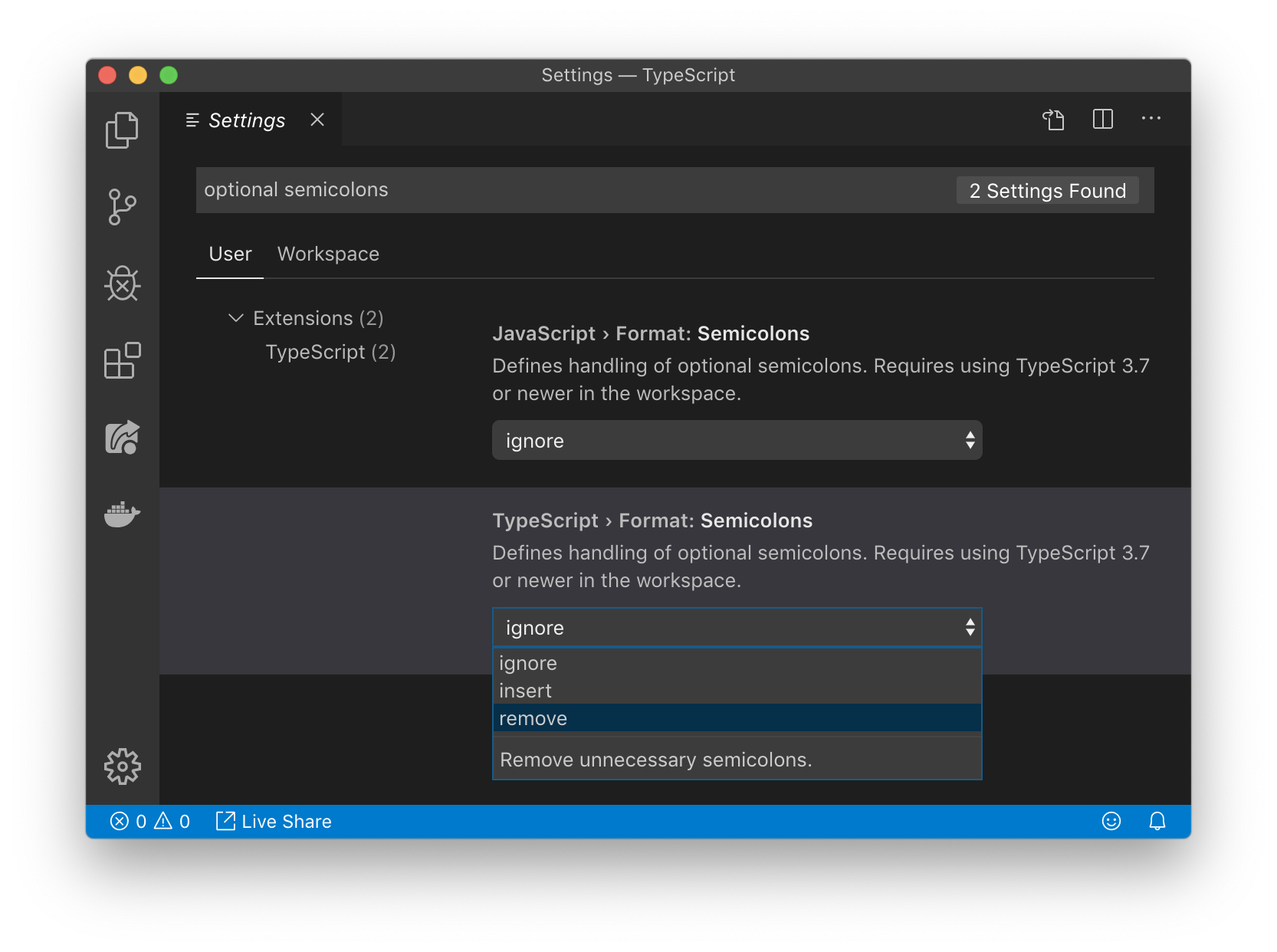 New semicolon formatter option in VS Code