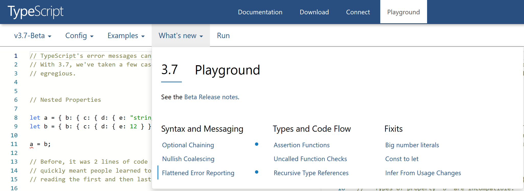 A screenshot of the TypeScript playground which now has a section for learning what's new.
