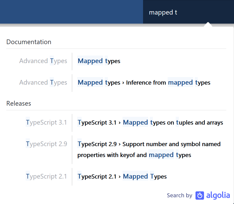 Search on the TypeScript website.