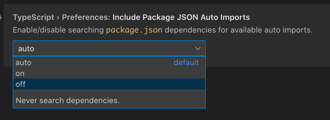 Configuring 'include package JSON auto imports'