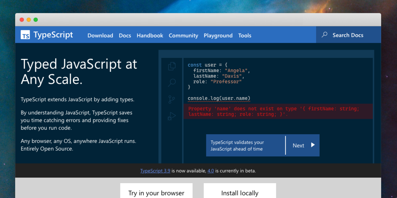 A screenshot of the new TypeScript website