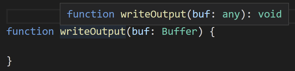 Hovering over a signature where Buffer isn't found, TypeScript replaces it with any.