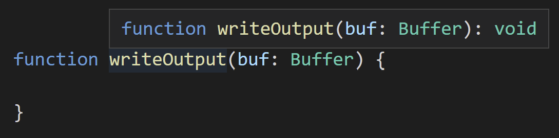 Hovering over a signature where Buffer isn't found, it continues to use the name Buffer.
