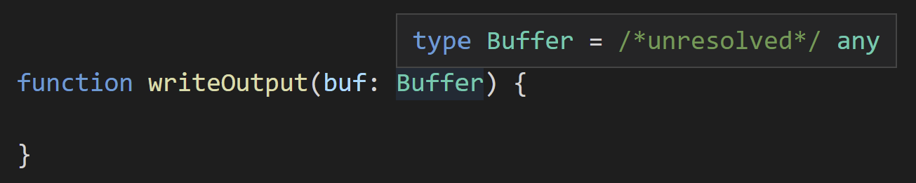 TypeScript displays type Buffer = /* unresolved */ any;