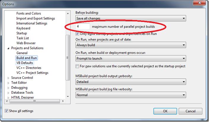 Tuning C++ build parallelism in VS2010 | The Visual Studio Blog