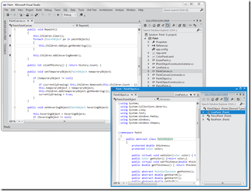 The developer has created multiple instances of the Solution Explorer hub and has rafted code files to each instance.