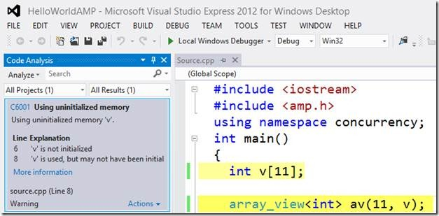 Code Analysis in Visual Studio Express 2012 for Windows Desktop