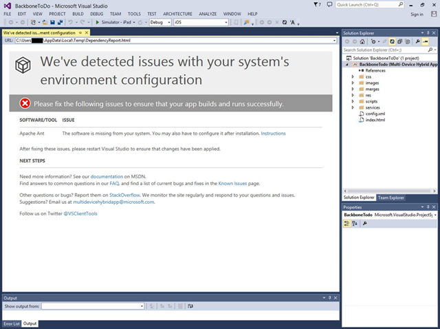 Visual Studio runs system diagnostics to ensure development environment remains healthy