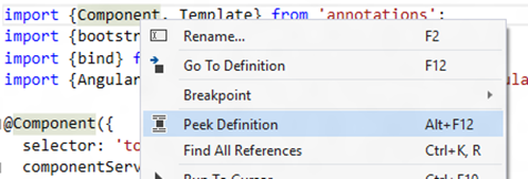 Menu to Choose Peek Definition