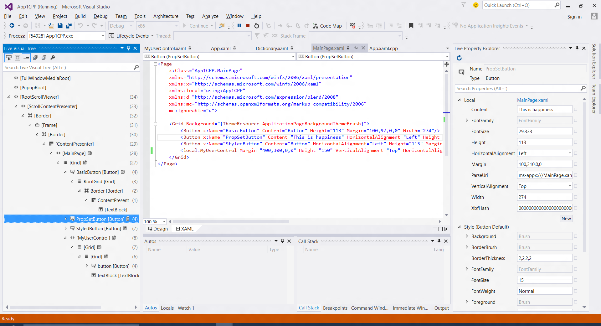 XAML UI Debugging