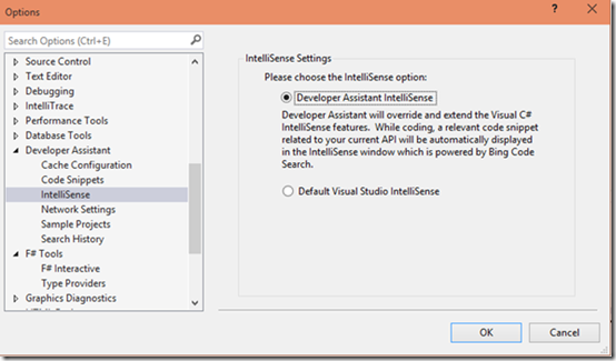 Tools Options page for picking default IntelliSense