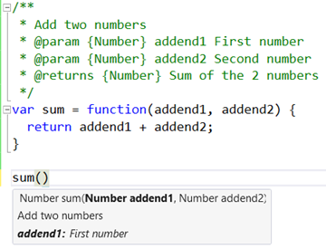 IntelliSense hints for JSDoc markup