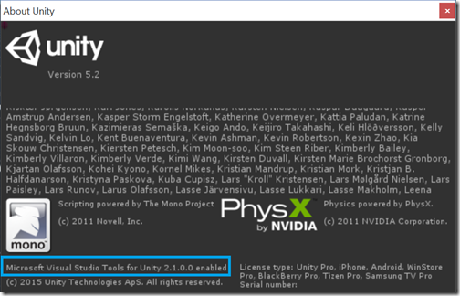 Unity abount box showing support for Visual Studio Tools for Unity
