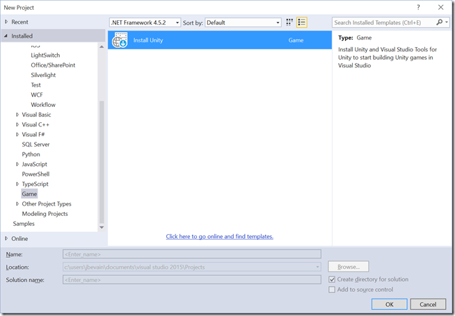 New project dialog in Visual Studio listing Unity under Game type projects