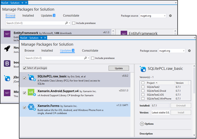 Updated NuGet package manager